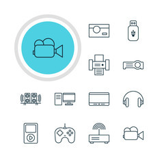Vector Illustration Of 12 Technology Icons. Editable Pack Of Loudspeaker, Media Controller, Photography And Other Elements.
