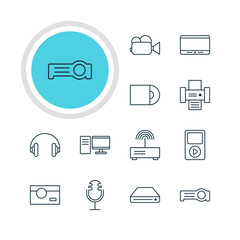Vector Illustration Of 12 Technology Icons. Editable Pack Of Media Controller, Photography, Photocopier And Other Elements.