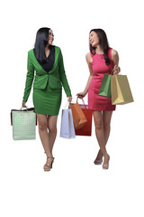 Two young asian woman with shopping bags