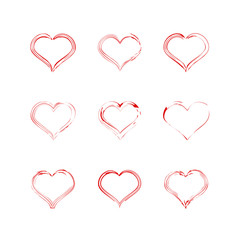 Red heart collection icon, love symbol. Design elements for Valentine's day. Vector Illustration.