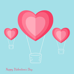Happy valentine's day concept of love. Heart shape hot air balloon carrying a lot of heart. Paper art design. Vector Illustration.