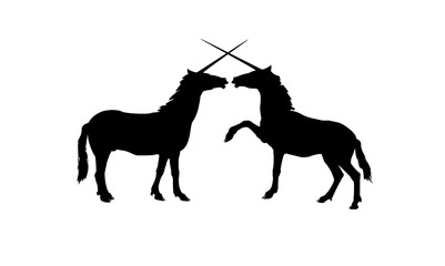Vector silhouettes of two unicorns, symbol of love and friendship