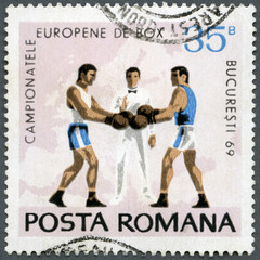 ROMANIA - 1969: shows Boxers, Referee and Map of Europe, series