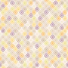 Бесшовный узор в пастельных цветах из элементов в форме квадратов с закруглёнными углами, разделённых на четыре части, на светлом фоне.