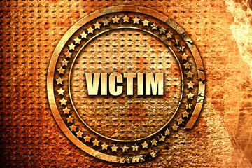 victim, 3D rendering, text on metal