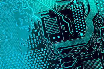 Circuit board. Electronic computer hardware technology. Motherboard digital chip. Tech science background. Integrated communication processor. Information engineering component