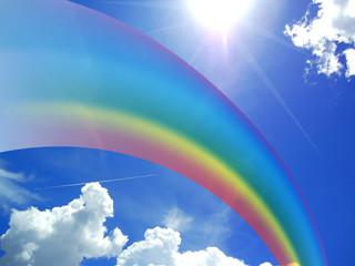 Rainbow vivid blue sky picture image