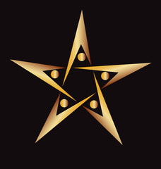 Vector logo golden star teamwork educational icon