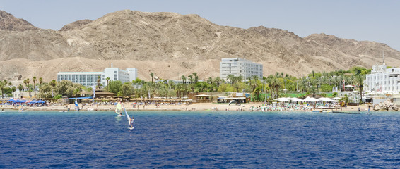 Water sport and recreation activities in the Red Sea near Eilat – famous resort town of Israel