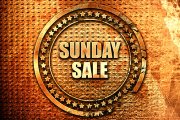 sunday sale, 3D rendering, text on metal