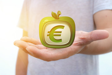 a euro dollar sign on man hand, Currency euro Dollar logo apple shape on hand