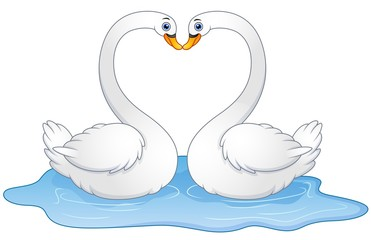 Cartoon couple swans lover kissing
