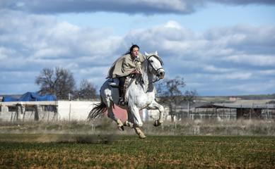 Fast galloping rider