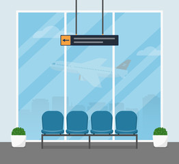 The waiting room at the airport. Modern interior of the airport building with blue armchairs for passengers awaiting departure. Vector illustrations in a flat style.