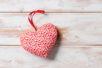 Heart-Shaped Stuffed Decoration with Copy Space