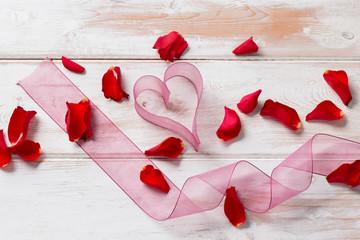 Chiffon Ribbon Heart, Streamer, and Rose Petals