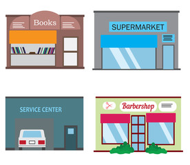 Shops and stores icons set in flat design style. Barber shop, supermarket, books shop and service center