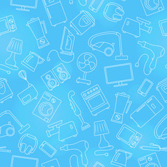 Seamless pattern topic of household appliances, a light outline on a blue background