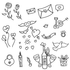 Valentine day, wedding day design elements. Vector.