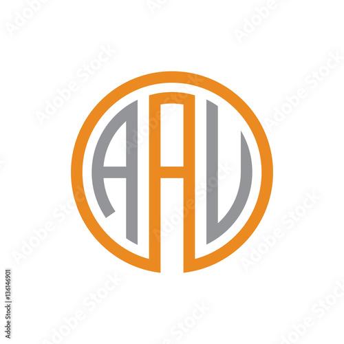 initial three letter logo circle grey orange
