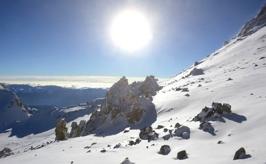 The welcome sun on a blue sky day, high in the Andes of South America