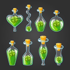 Set with bottles of clover potion