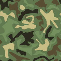 Abstract Vector Military Camouflage Background. Seamless