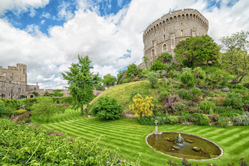 Summer view for gardens and towers in Medieval Windsor Castle