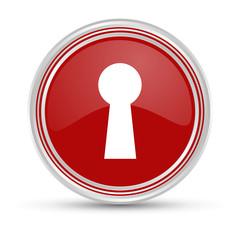 Roter Button - Schlüsselloch - Sicherheit