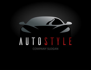 Auto style car logo design with abstract concept sports vehicle icon silhouette on black background. Vector illustration.
