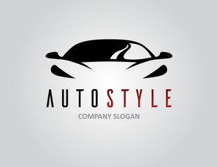 Auto style car logo design with concept sports vehicle icon silhouette on light grey background. Vector illustration.