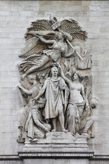 Ornamental sculptures on Arch of Triumph. Paris, France