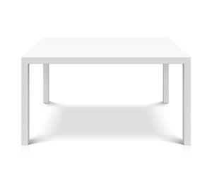 White empty square table