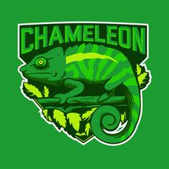 Chameleon Green Mascot logo
