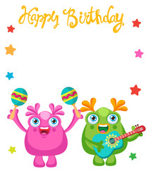 Holiday Everyday. Cute Little Monsters Invitation Cartoon Vector Collection. Beautiful Birthday Monsters Celebration Card With Space For Text. Let's Make a Holiday.