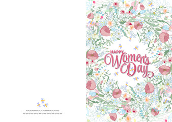 Greeting card with cute little flowers. 8 march - woman's day. Ready to print card