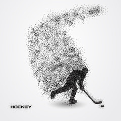 hockey player of a silhouette from particle