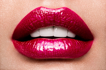 Sexy Lips. Beauty Red Lips Makeup Detail. Beautiful Make-up Closeup. Sensual Open Mouth. lipstick or Lipgloss