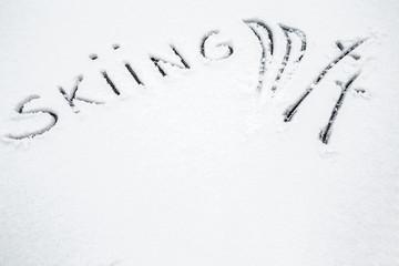 Word skiing in the fresh snow in winter day.  Skiing season.