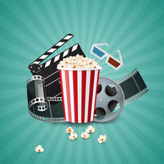 Cinema concept poster with popcorn bowl, films and clapperboard. realistic vector illustration.
