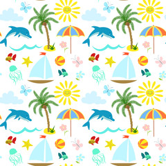 Seamless drawing on a theme of a summer beach holiday, sea travel, vector.