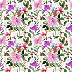 Seamless pattern with floral patterns in pink purple shades of green