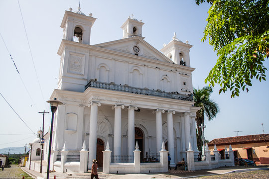 Suchitoto Cathedral in El Salvador, Central America, historic colonial architecture of the town of Suchitoto.