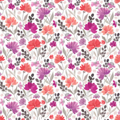 Seamless floral pattern with abstract meadow flowers on a white background.
