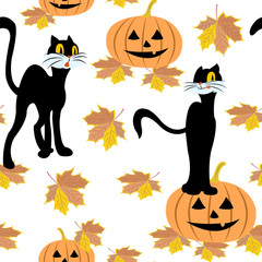 Seamless pattern with black cat, halloween pumpkins, autumn maple leaf on a white background.