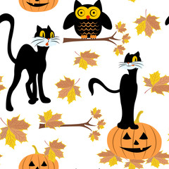 Seamless pattern with black cat, pumpkin and owl halloween, autumn leaves