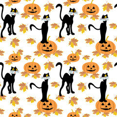 Seamless pattern with black cat, halloween pumpkins, autumn maple leaves.