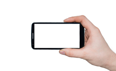 A man  hand holding smart phone making photo isolated on white background