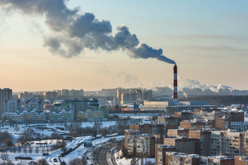 Aerial view on Moscow district and Environmental problem of environmental pollution and air