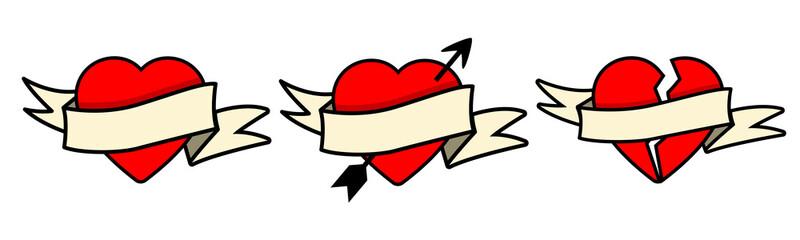 Coeurs avec bannière ruban